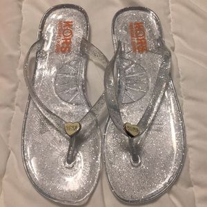 Michael Kors Clear Sparkly Kids Jelly Sandals.